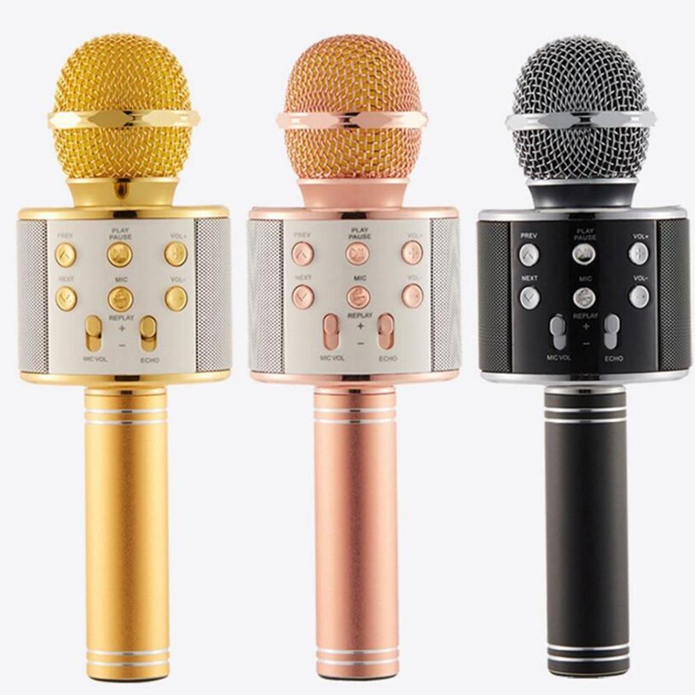 FGHGF mikrofon WS858 Bluetooth condensador inalámbrico magia micrófono de Karaoke del teléfono móvil jugador micrófono altavoz grabar música