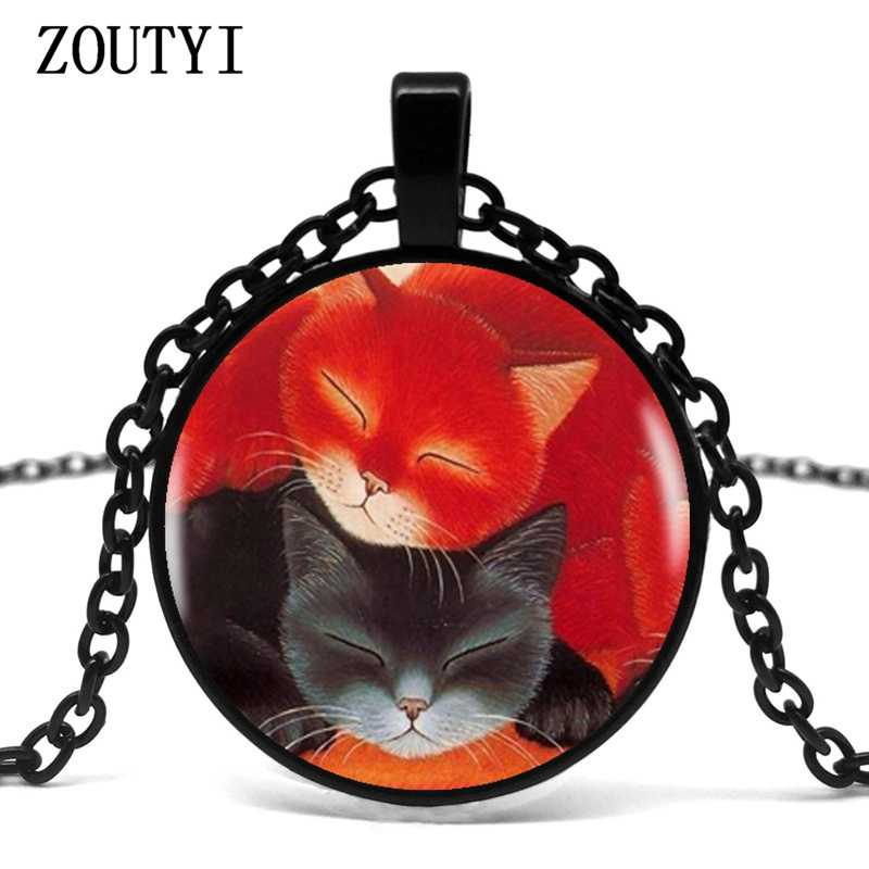 2018 red black sleeping cat pendant necklace statement silver necklace women's dress accessories glass cabochon jewelry.