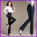 Bordado de la cintura recta jeans mujer Delgada era pantalones elásticos delgados yardas grandes mujeres pantalones de mezclilla pantalones de los niños