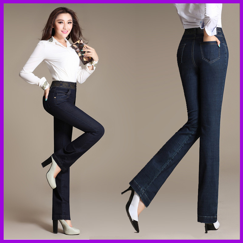 Embroidered waist straight jeans female Slim was thin stretch pants big yards female denim trousers children pants