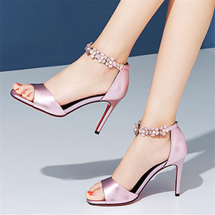 ZOUDKY The New Leather fish mouths high heels flower buckle sandals