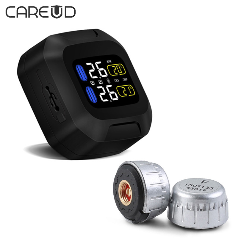 CAREUD M3 Wireless Motorcycle TPMS Tire Pressure Monitoring System Motor Tyre Aotu Alarm 2 External Sensor Moto Tools