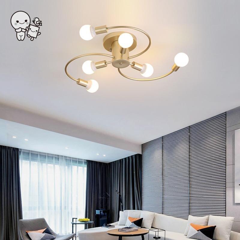 Black Golden Iron Metal Whirl Ceiling Light Fixture Nordic Scandinavian Minimalist Hanging Lamp Plafon Lustre for Foyer Bedroom