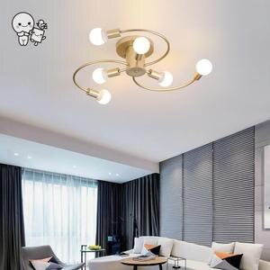 Lámpara colgante de techo de hierro dorado negro, lámpara colgante minimalista nórdica escandinava, Lustre de plafón para habitación de vestíbulo