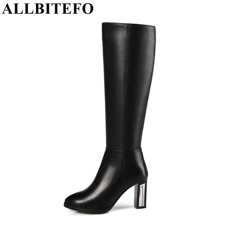 ФОТО ALLBITEFO size 33-44 simple leisure high heel women boots genuine leather +PU knee high boots fur inside winter thigh high boots