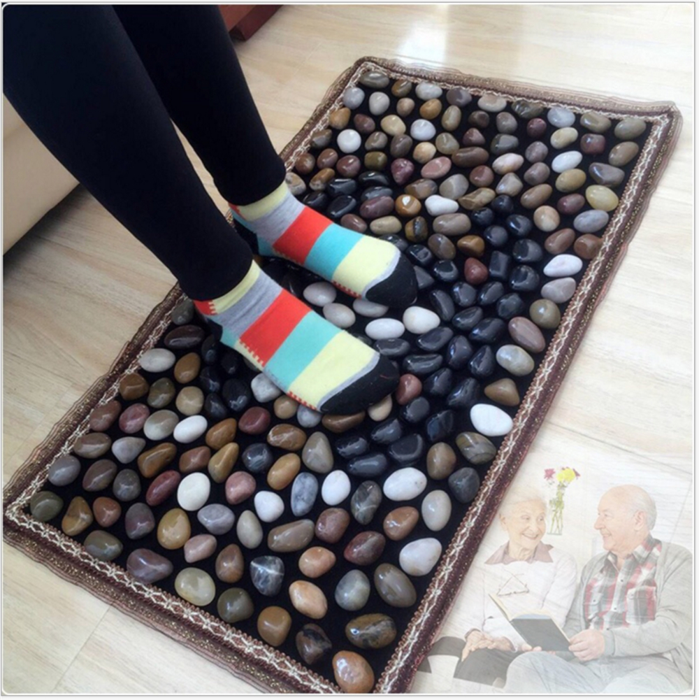 цены Household Natural Stone Cobblestone Foot Massage Pad Foot Massage Device Stone Pad Blanket Mat Plate Health care 40*70CM