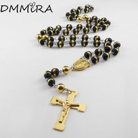 Fashion Cross Necklace Gold Stainless Steel Maria Cross Link Rosary 8mm Black White Beads Color