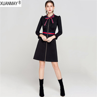 2019 New Black Spring Long Sleeve Sweater Dress Spring Women's Long style cardigan Sweater Office Lady Zip Cardigan Knit Dress