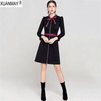 2019 New Black Spring Long Sleeve Sweater Dress Spring Women's Long style cardigan Sweater Office Lady Zip Cardigan Knit Dress