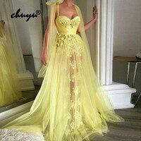 Yellow Muslim Evening Dresses Spaghetti Straps Lace Flowers Illusion Islamic Dubai Saudi Arabic Evening Gown Boho Prom Dress