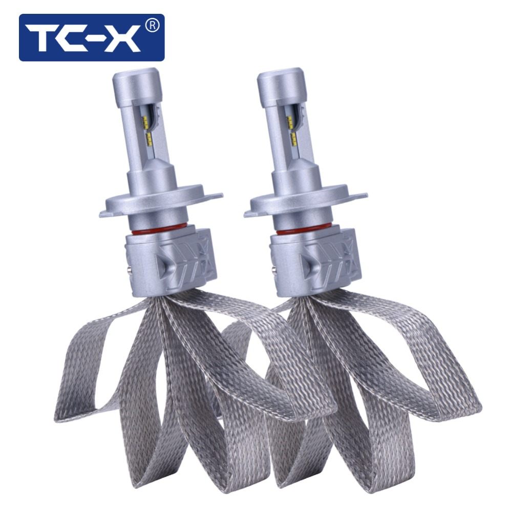 Prix pour TC-X LED Phare De Voiture H4 9003 HB2 Lumileds Super Bright LED Ampoules Kit D'origine Halogène/HID Remplacement De Cuivre tressage