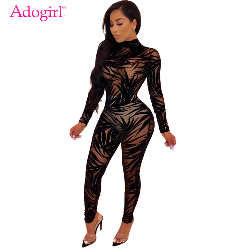 Adogirl Bamboo leaf Sheer Mesh Jumpsuit O Neck Long Sleeve Women Sexy Night Club Party Romper Fashion Bar Overalls Costumes