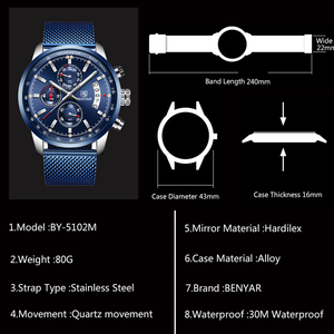 Image 5 - BENYAR 2019 New Mens Watches Top Brand Luxury Watch Men Quartz Watches Chronograph Military Watch Clock Man Relogio Masculino