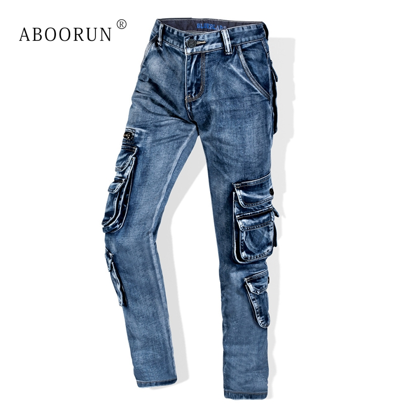 ABOORUN Men's Retro Cargo   Jeans   Multi Pockets Washed Straight fit Denim Pants Men's Brand Overalls   Jeans   x1650
