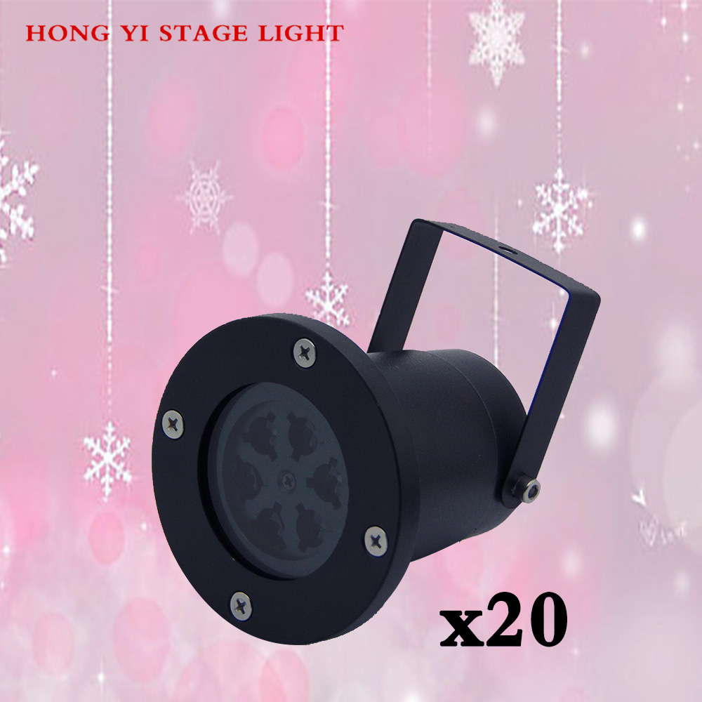 20pcslot Snowflakes LED Stage Light use White Snow Sparkling Landscape Projector