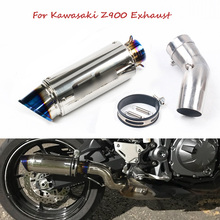 For Kawasaki Z900 Slip on Motorcycle Exhaust Pipe Escape Muffler Tip Modified Middle Link Connector Pipe