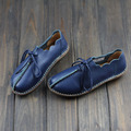 New Womens Flats Shoes 2015 Blue/Coffee Genuine Leather Casual Shoes Lace up Moccasins Ladies(568-3)