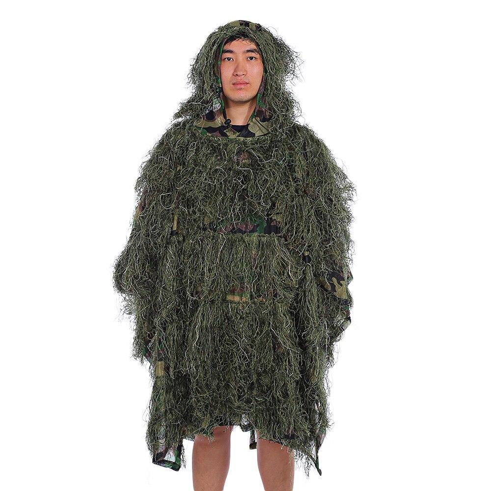 Vêtements de chasse 3D d'érable feuille Bionic Costumes Ghillie Yowie sniper birdwatch airsoft Camouflage Vêtements Désert Woodland Poncho