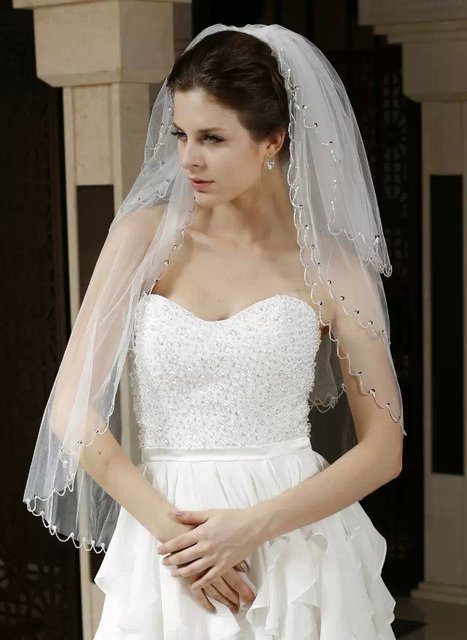 Three Layers Tulle Bride Veil Custom Made Full Beads Romantic Veil Bridal Wedding Party Veil For Bride Crystal Wedding Veil