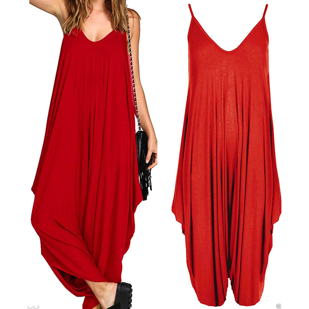 2019 Ladies Baggy Harem   Jumpsuit   Romper Sleeveless All in One V-Neck Cami Playsuit