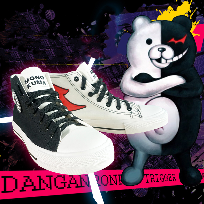 Danganronpa Monokuma Black /& White Bear Unisex Sneakers Shoes Cosplay Canvas