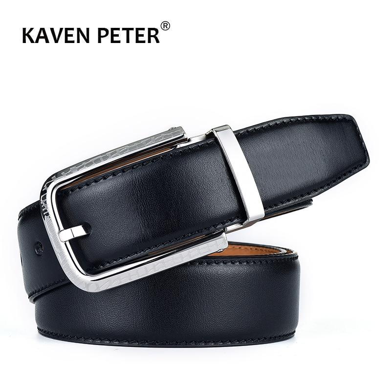 100 % Genuine Leather Belt For Men Italian Import Top Grain Leather Stainless Steel Pin Buckle Male Luxury Cowskin Belts Black