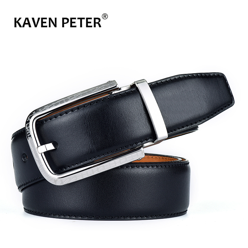 100% ceinture en cuir véritable pour hommes importation italienne cuir haut Grain en acier inoxydable boucle ardillon mâle luxe peau de vache ceintures noir