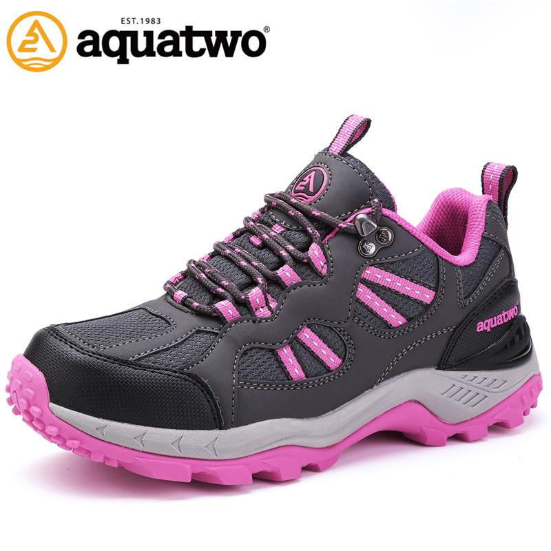 AQUA TWO Outdoor Women Sports Walking Shoes Genuine Leather Breathable camping Sneakers Wear-Resistance Lace-up Shoes HDS-101304 tfsland men women genuine leather loafers students white shoes unisex spring round toe lace up breathable walking shoes sneakers