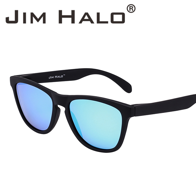c7e0ab08f7a Jim Halo Vintage Original Square Polarized Rubber Coating Sunglasses Women  Men Blue Mirrored Lens Eyewear Frame