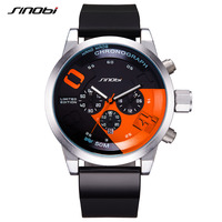 SINOBI Large Dial Design Chronograph Sport Mens Watches Fashion Brand Military Waterproof Quartz Watch Clock Relogio