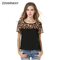 Summer Womens Chiffon Blouse Short Sleeve O Neck Leopard Black Blouse Women Summer 2017 Casual Loose
