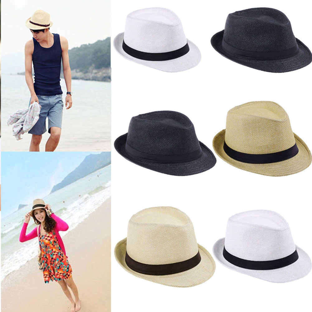 Mannen Vrouwen Strand Zonnehoed Cowboy Brede Rand Stro Gras Trilby Cap Panama Zomer Herfst Bowler Jazz Hoed