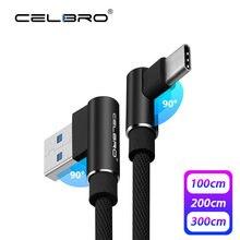 3a 90 graus usb tipo c cabo de carregamento carga rápida 3.0 qc3.0 telefone móvel tipo c usbc carregador rápido de dados cabo 1/2/3 metro m longo