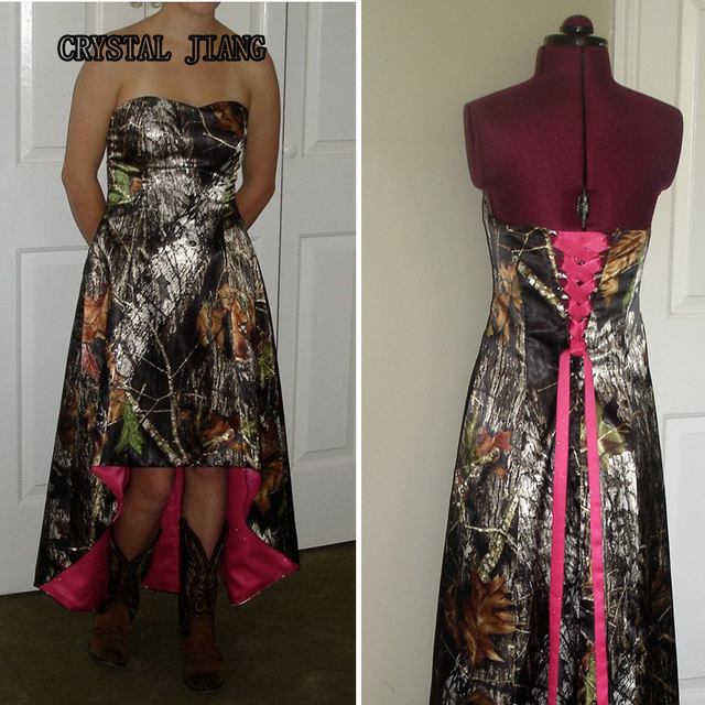 Mossy Oak Wedding Dresses: Mossy Oak Camo Dresses Strapless High Low Camouflage