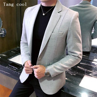 Tang cool 2019 New Wool Blend Blazer Business Casual Mens Vintage Blazer Suit Jacket Men Male Suit Coat 5xl