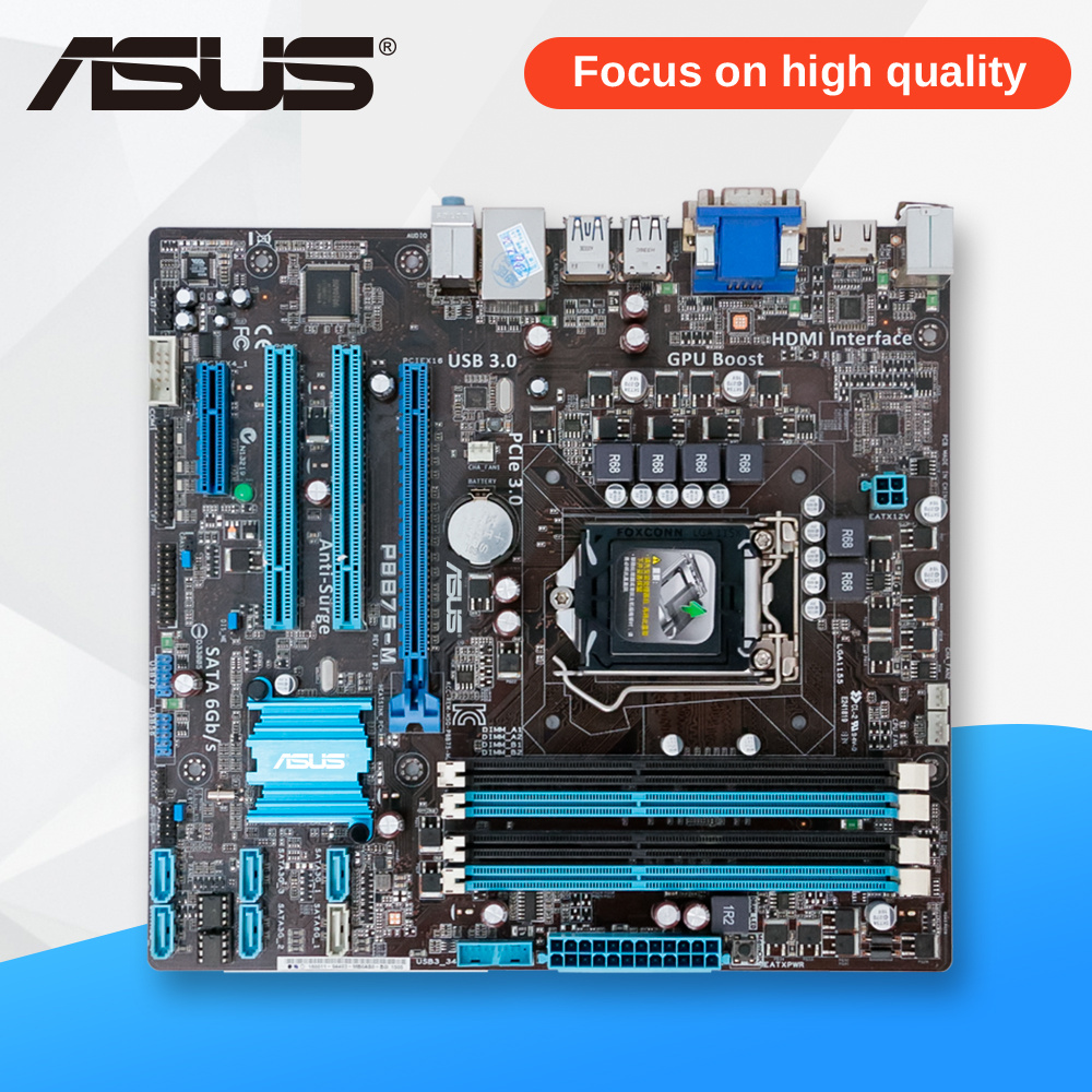 Asus P8B75-M Desktop Motherboard B75 Socket LGA 1155 i3 i5 i7 DDR3 SATA3 USB3.0 uATX On Sale asus p8h61 plus desktop motherboard h61 socket lga 1155 i3 i5 i7 ddr3 16g uatx uefi bios original used mainboard on sale