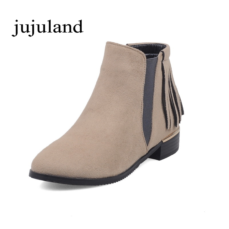 Women Shoes Ankle Boots Chelsea Boots Flock Low Square Heels Fashion Round Toe Nubuck Leather Short Plush Slip-On Fringe Tassel flat with bow ankle boots shoes style women boots round toe platform snow boots for women fashion flock short outdoor shoes
