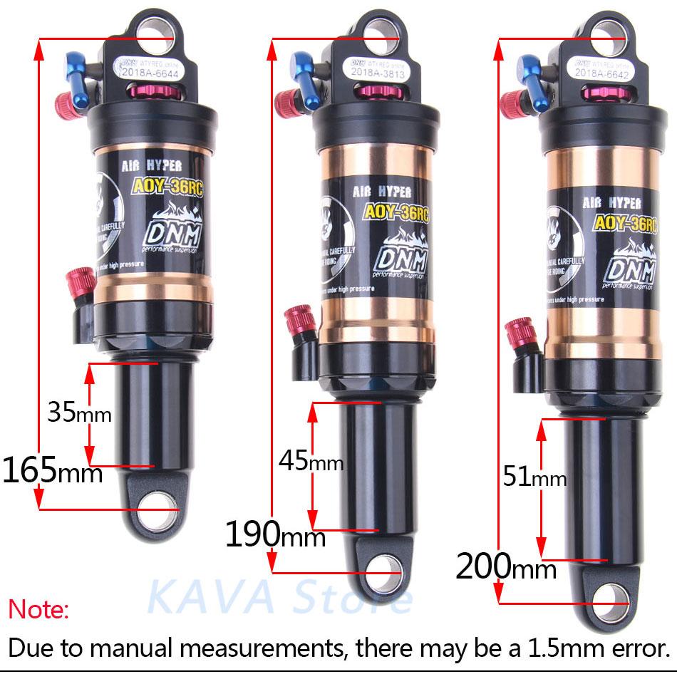 DNM AOY-36RC VTT choc arrière haute pression BMX montagne vtt vélo Suspension pneumatique pièces descente absorbeur 165 190 200
