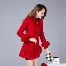 In the winter of 2016 new women's  in the long section of Korean fashion slim long sleeved coat