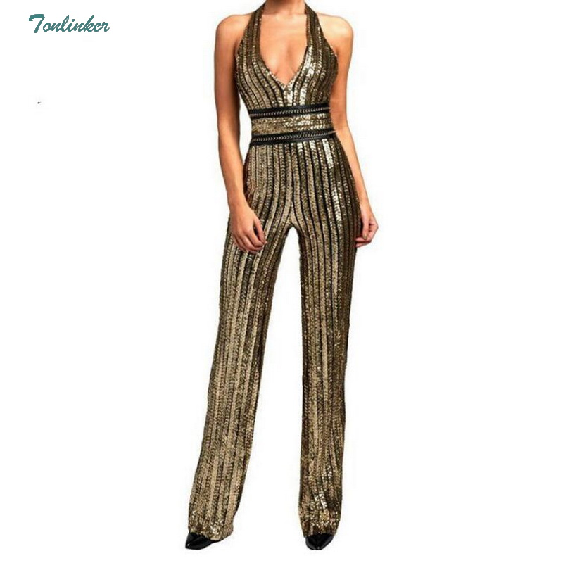 Women Gold Sequin Jumpsuit Women Sexy Party suit V Neck Backless Women Clubwear Bodysuit Overalls Macacao Feminino S-XL Gold