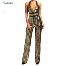 Women Gold Sequin Jumpsuit Sexy Party suit V Neck Backless  Clubwear Bodysuit Overalls Macacao Feminino S-XL