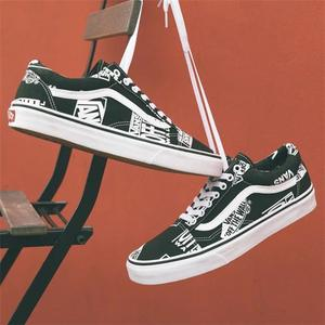 f7891d41531b Vans Skateboard Shoes Black white Neutral Canvas Shoes Off Wall Old Skool  Graffiti