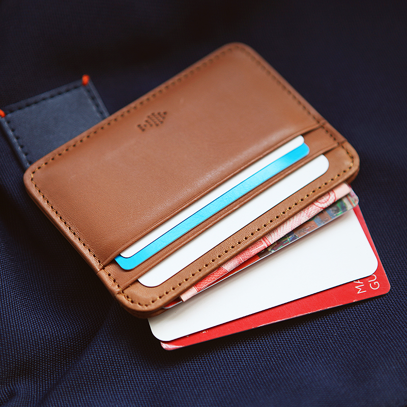 wallet purse cow Leather Card Cases ID Holder bag for men women handmade  brown z025