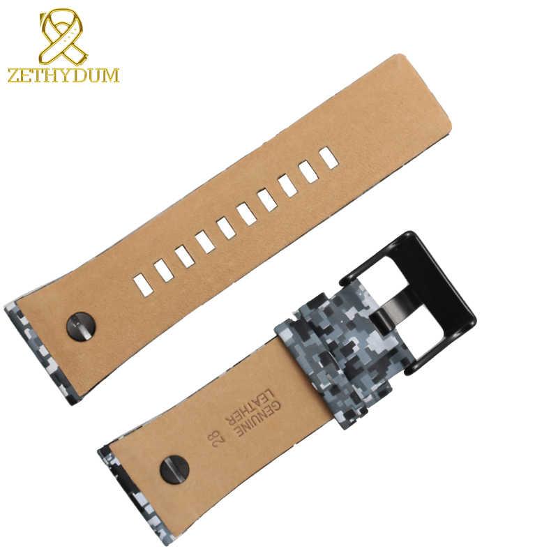Pulsera de cuero genuino 28mm correa de reloj de cuero para diésel con relojes de pulsera de uñas correa de reloj de color camuflaje