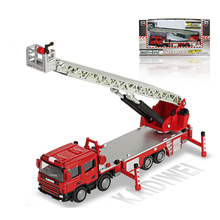 1:50 Alloy Engineering Vehicle Model Ladder Fire Lift Truck Ascended Ambulance Car Telescopic Elevated Metal Toy Simulation