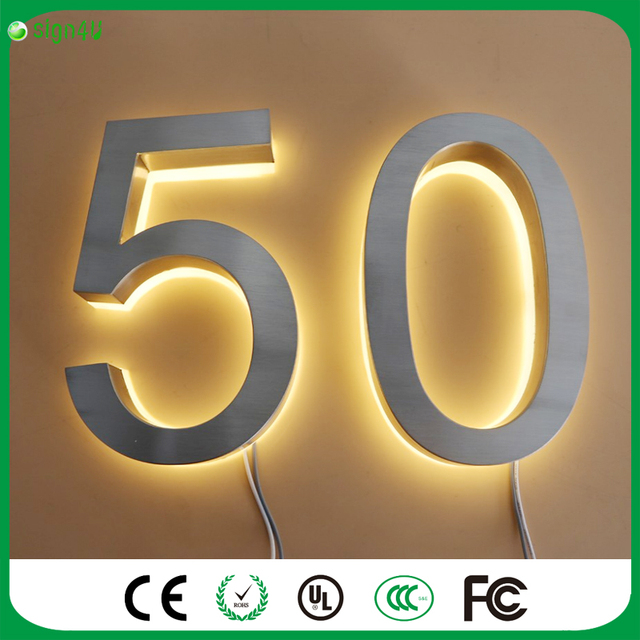 Outdoor Solar Light Solar Powered Stainless Steel LED Doorplate Lamp House  Number U0026letters Light Apartment Number