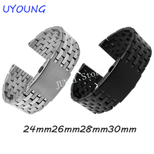 Uyong Bracelet de montre en acier inoxydable, solide, Bracelet de montre pour hommes, 24mm, 26mm, 28mm, 30mm, en acier noir