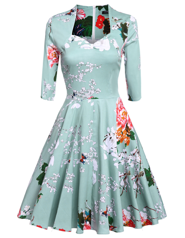 2d7203dd271 ACEVOG Women Ladies Vintage Style 1950s Flower Print Sundress Swing Hem  Scalloped Collar Party Casual Pleated Dress VestidosUSD 37.98 piece