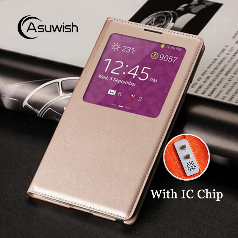 Flip Cover Læderetui til Samsung Galaxy Note 3 Note3 Not III SM 9005 N900 N9005 SM-N900 SM-N9005 Cover Smart View Chip