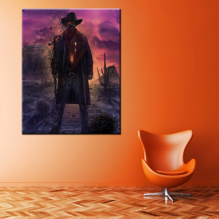 Abstract Zombie Cowboy Skull Stand on the Railway Skeleton Cool Canvas Painting Decoration High Quality Prints Home Decor Gift